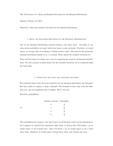 MA 1125 Lecture 12 - Mean and Standard Deviation for the Binomial