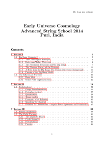 Early Universe Cosmology Advanced String School 2014 Puri, India