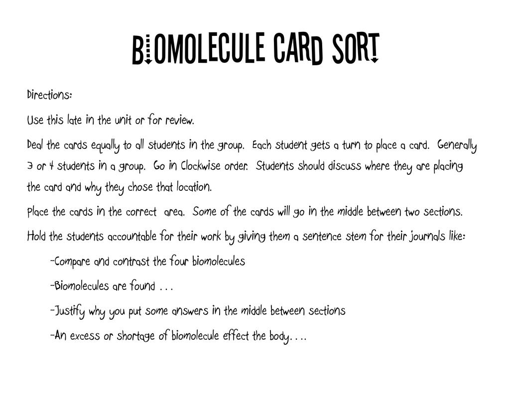 Biomolecule Card Sort