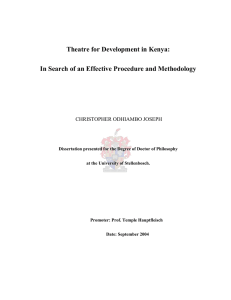 Theatre for Development in Kenya: In Search for Effective Procedure