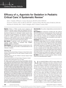 Agonists for Sedation in Pediatric Critical Care: A Systematic Review