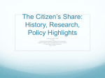 May 15, 2013, The Citizen`s Share: History, Research, Policy