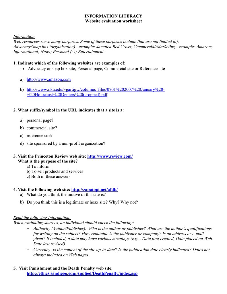 Worksheets Website Evaluation Worksheet worksheet activity