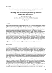 Mobility and territoriality in the making of societies