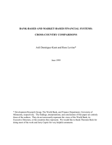 BANK-BASED AND MARKET-BASED FINANCIAL SYSTEMS