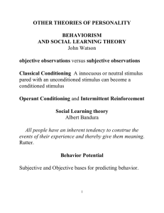OTHER THEORIES OF PERSONALITY BEHAVIORISM AND