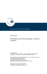 Personality and social psychology: towards a synthesis