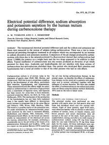 Electrical potential difference, sodium absorption and