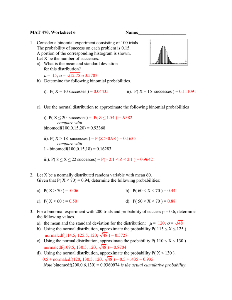 worksheet Binomial Probability Worksheet solutions to normal approximation the binomial worksheet