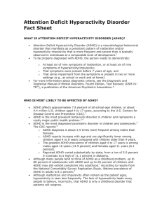 Attention Deficit Hyperactivity Disorder Fact Sheet