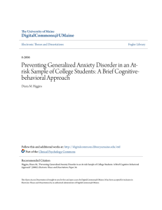 Preventing Generalized Anxiety Disorder in an At