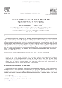 Hedonic adaptation and the role of decision and experience utility in