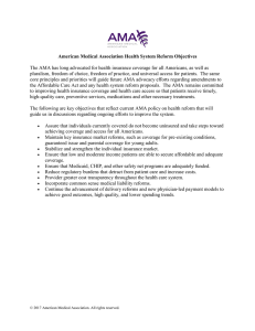 American Medical Association Health System Reform Objectives