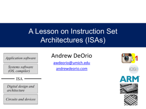 A Lesson on Instruction Set Architectures (ISAs)
