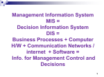Management Information System MIS = Decision Information System