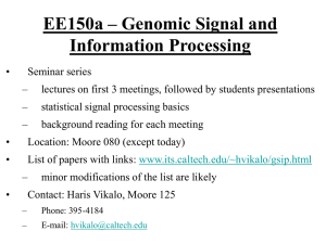 EE150a – Genomic Signal and Information Processing