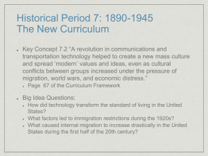 Historical Period 7: 1890-1945 The New Curriculum - TJ