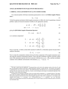 QUANTUM MECHANICS B PHY-413 Note Set No. 7