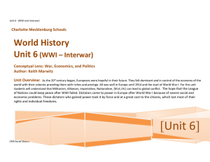 WH Unit 6 - WWI through Interwar