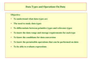 Data Types and Operations On Data
