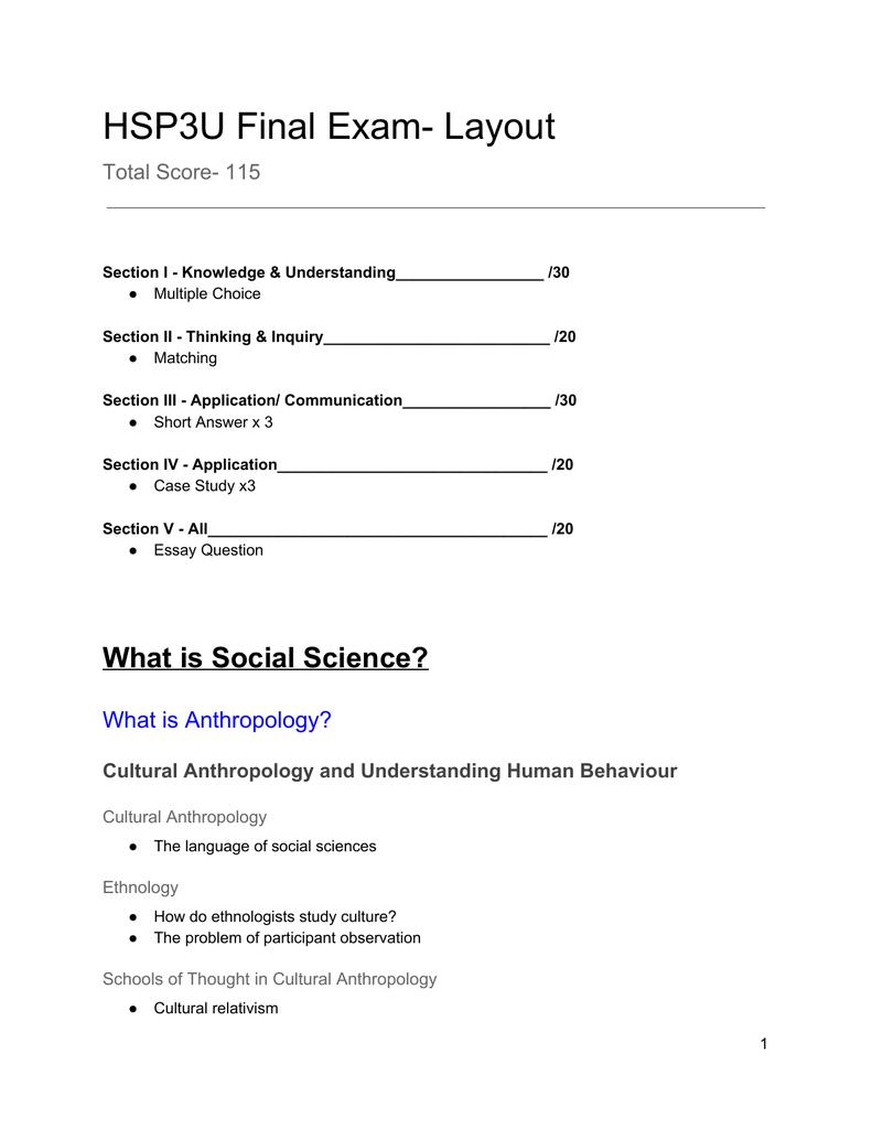 HSP3U Final Exam- Layout