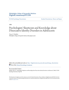 Psychologists` Skepticism and Knowledge about Dissociative