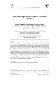 Molecular Perspectives on the Bantu Expansion