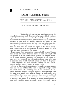 Chapter 9: Codifying the Social Scientific Style: The APA Publication