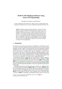 HAPLO-ASP: Haplotype Inference Using Answer Set Programming