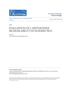 evaluation of l-methionine bioavailability in nursery pigs