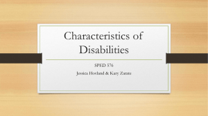 Characteristics of Disabilities and learning to