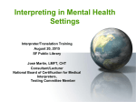 Interpreting in Mental Health Settings