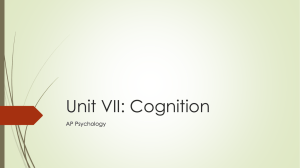Unit VII: Cognition - Rapid City Area Schools
