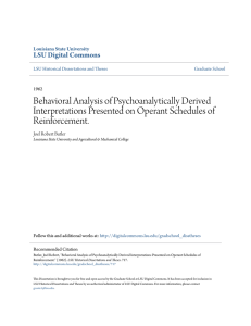 Behavioral Analysis of Psychoanalytically Derived Interpretations
