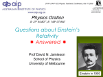 Physics Oration - Part 1