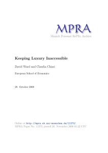 Keeping Luxury Inaccessible - Munich Personal RePEc Archive