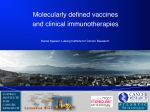 Molecularly defined vaccines and clinical immunotherapies