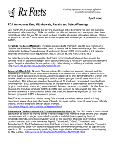 April 2007 FDA Announces Drug Withdrawals, Recalls