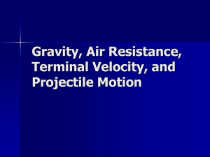 Gravity, Air Resistence, Terminal Velocity, and Projectile Motion