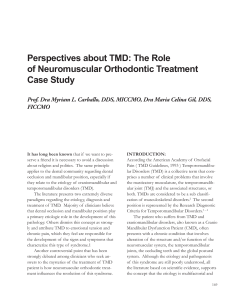 Perspectives about TMD: The Role of Neuromuscular Orthodontic