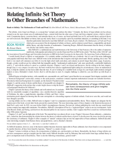 Relating Infinite Set Theory to Other Branches of Mathematics