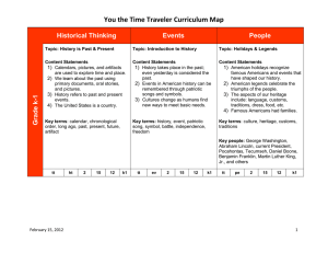 You the Time Traveler Curriculum Map