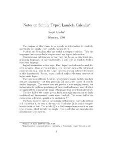 Notes on Simply Typed Lambda Calculus