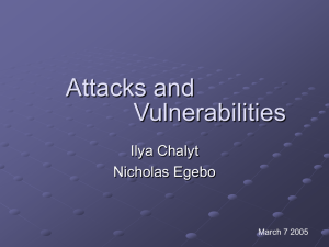 Attacks and vulnerabilities