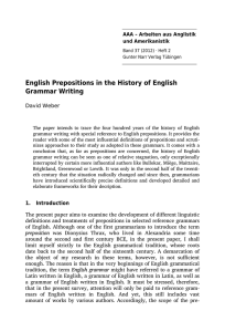 English Prepositions in the History of English Grammar Writing