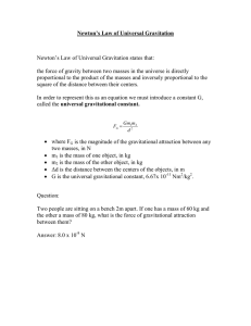 Newton`s Law of Universal Gravitation Newton`s Law of Universal