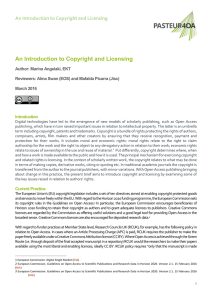 An Introduction to Copyright and Licensing