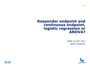 Responder endpoint and continuous endpoint, logistic regression or