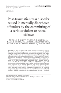 Post-traumatic stress disorder caused in mentally disordered