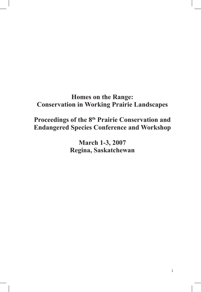 Homes on the Range - Prairie Conservation Action Plan
